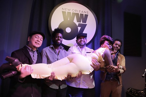 Sierra Green & the Soul Machine at WWOZ on Day 4 of Spring Membership Drive - 3.16.18. Photo by Michele Goldfarb.