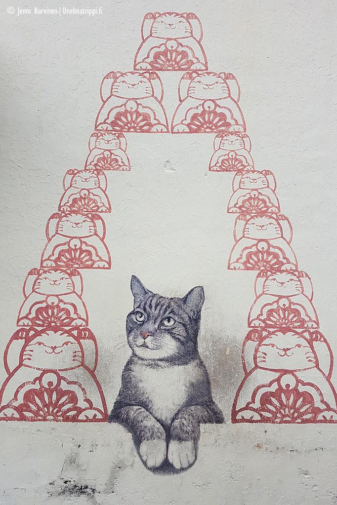 Katutaideteos kissasta ja kissaleimasimista