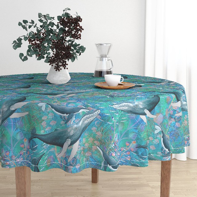 large elegant whales turquoise ocean by FloweryHat