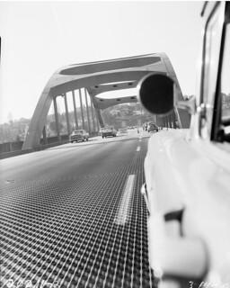 Cars on I-90 floating bridge, 1960