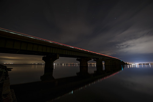 bridge reflection night bay cloudy longbeachisland atlanticcity barnegat manahawkin newjerseyshore rt72