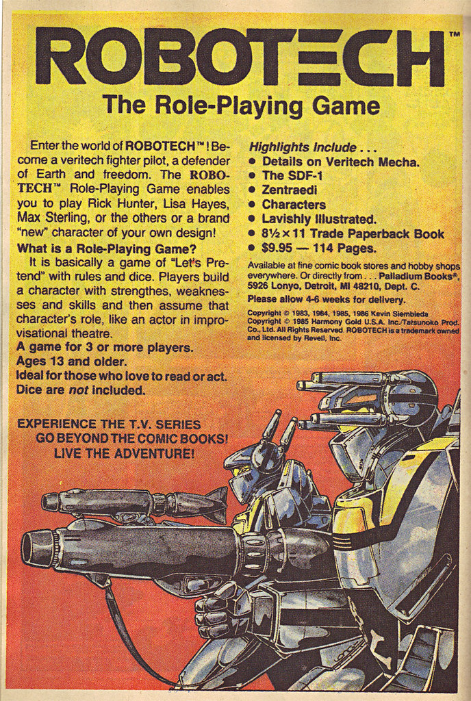 """PALLADIUM BOOKS :: """"ROBOTECH"""" - The Role-Playing Game ; ..spot ad (( 1986 )) by tOkKa"""
