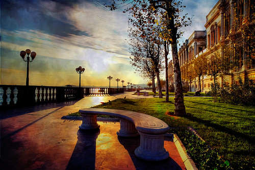 Sun rising on Çırağan Palace   by b@u