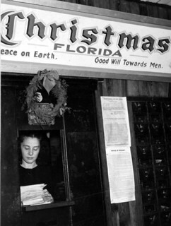 Mrs. Juanita Elisabeth Smith Tucker sorting letters to Santa: Christmas, Florida