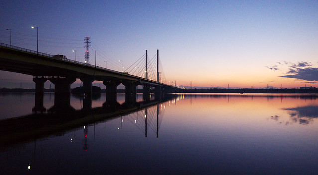 Sunset of Saiko Lake and Sakitama Ohashi Bridge