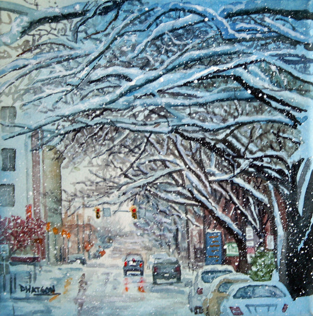 Downtown Lancaster Watercolor Painting