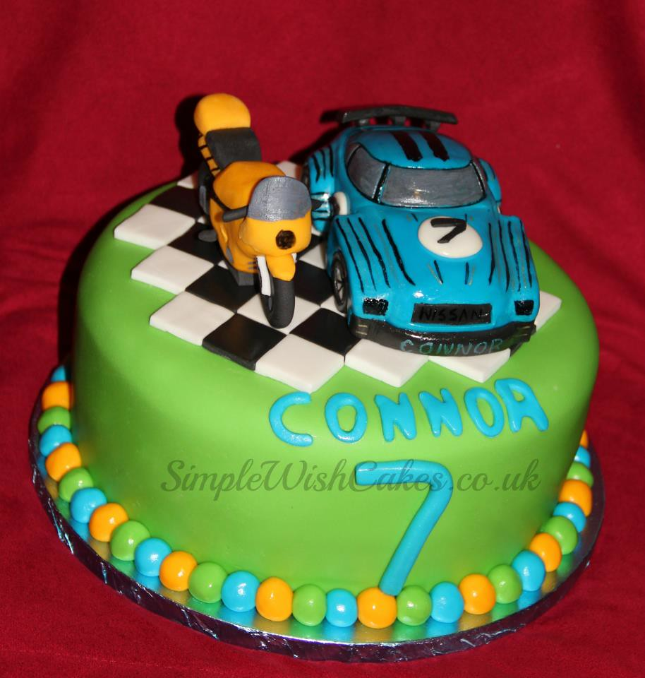 Fantastic Motorbike And Racing Car Birthday Cake Stef And Carla Green Flickr Personalised Birthday Cards Cominlily Jamesorg