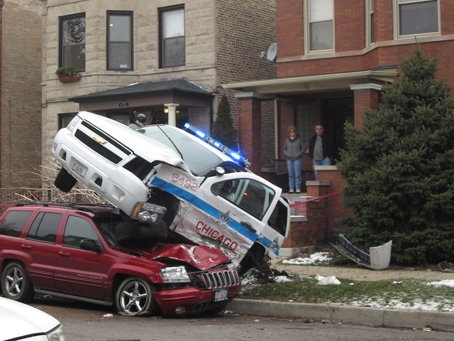 Chicago Police crusier having a very bad day