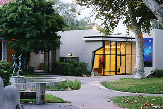 The new, all-glass front of the Pomona College Museum of Art after its 2006 renovation.