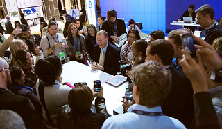 Alan Mulally interacts with bloggers at NAIAS 2013. | by Ford Motor Company