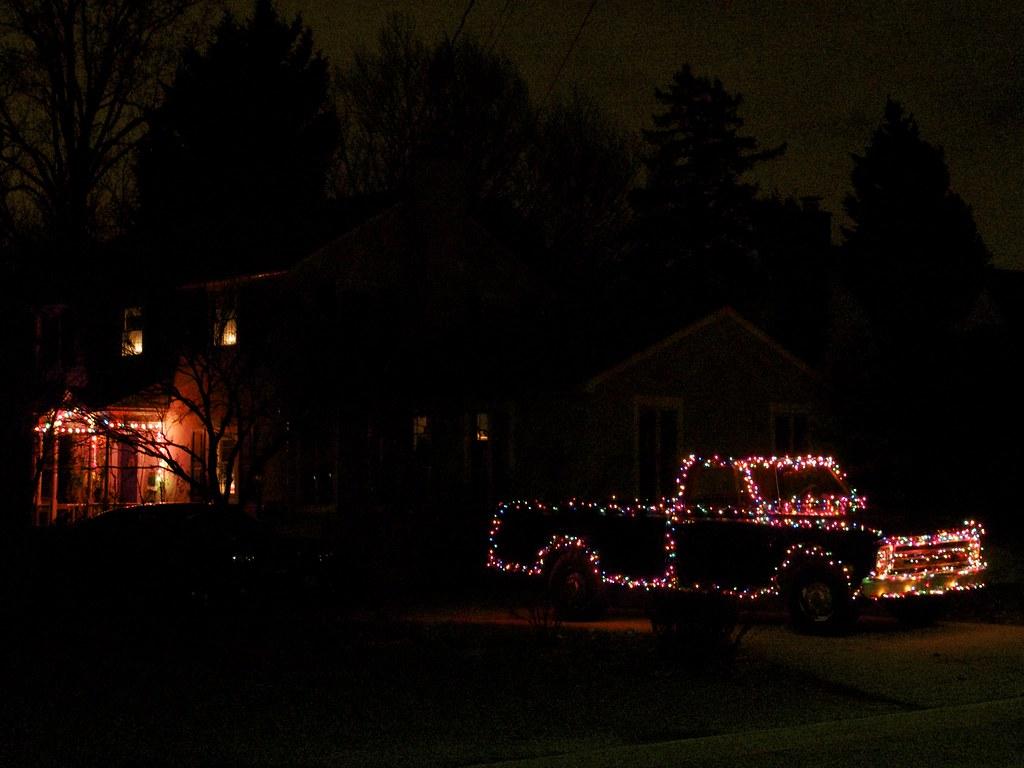 Pickup Truck Christmas Lights At Least In My Neighborhood