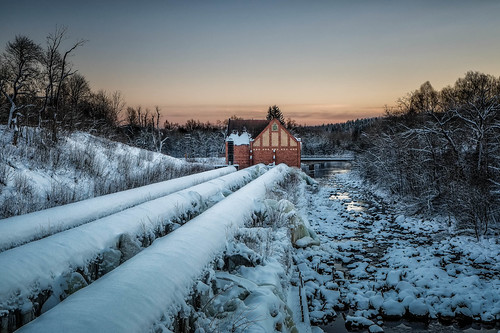 Sunset over the Powerstation in Semla, Fagersta (Sweden)   by joeriksson