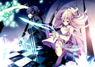 konachan 142674 black_eyes black_hair blonde_hair gloves kirigaya_kazuto long_hair merontomari short_hair sword sword_art_online weapon yellow_eyes yuuki_asuna.jpg | by 糟糕逆境