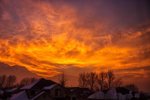 morning trees winter sky mountains nature silhouette clouds sunrise canon utah vivid