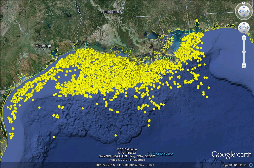 louisiana oil rig map Us Gulf Of Mexico Oil And Gas Platforms Google Earth View Flickr louisiana oil rig map