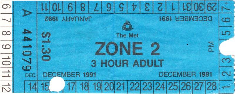 2-hour Met ticket from 1991-92
