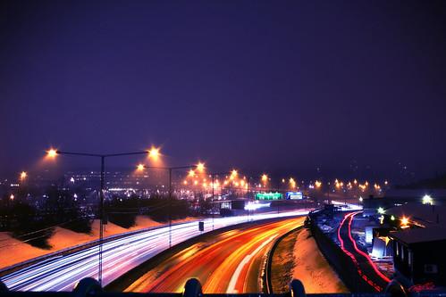 light night highway long exposure sweden stockholm trails streams e18 lightstreaks mörby