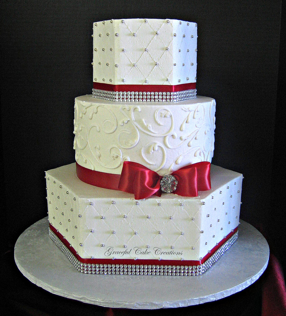 Elegant White Buttercream Wedding Cake With Red And Silver Flickr