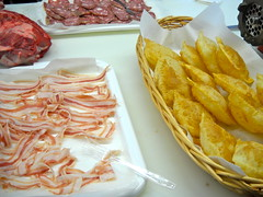 slices of pancetta to eat with gnocco fritto (dough fried in lard)