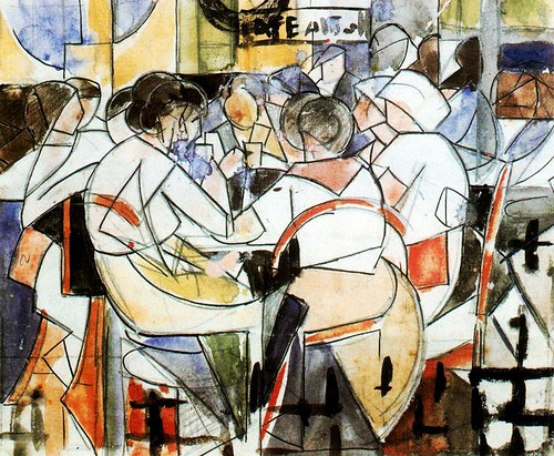 Barradas, Rafael (1890-1929) - 1917-18 People in a Cafe - Study (National Museum of Visual Arts, Montevideo, Uruguay) | by RasMarley