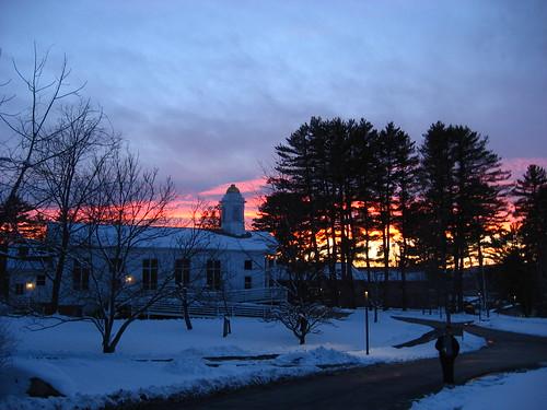 sunset snow unitedstates massachusetts crepusculo simonsrock latewinter greatbarrington berkshirecounty kellogmusiccenter