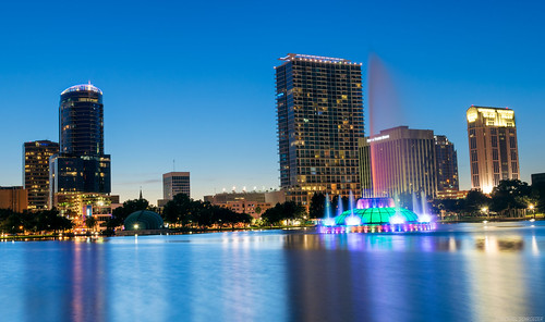lake eola park orlando fl downtown water fountain lakeside night sunset dusk hdr luminosity mask masking nikon d3300
