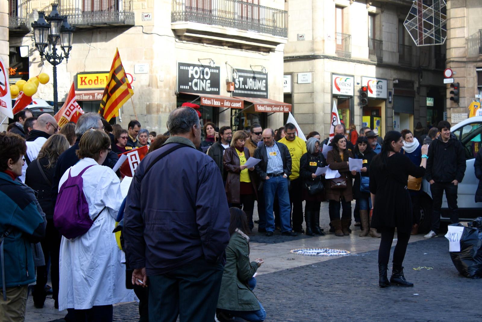 Protest in Plaça Sant Jaume, Barcelona, Spain
