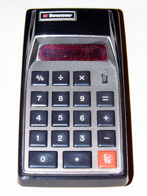 Vintage Bowmar Model MX55 Red LED Personal Calculator, Assembled in Mexico, Five Function, Eight Digit, Rechargeable Batteries, Circa 1974