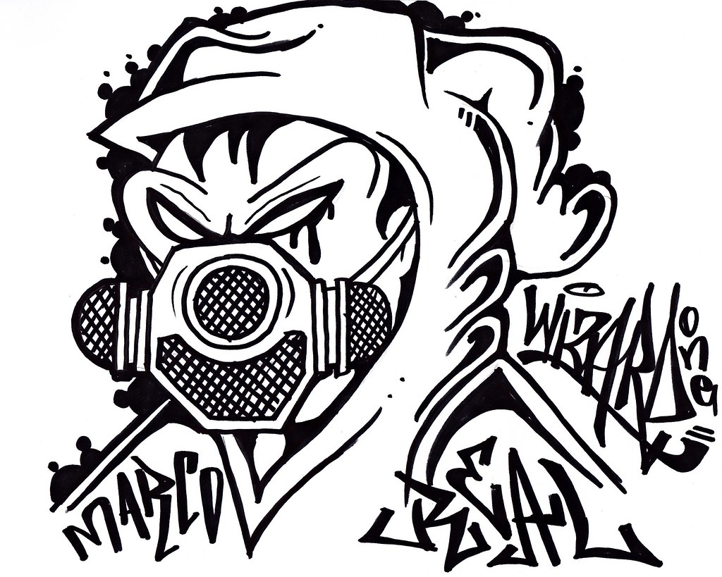Graffiti character gas mask by cholowiz13