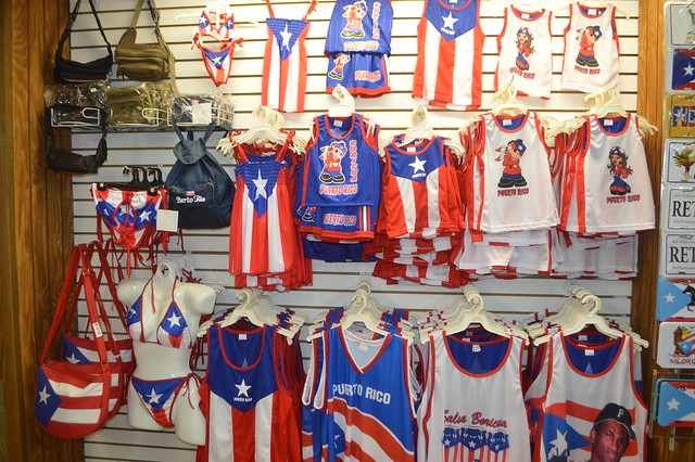 Puerto Rican flag clothing for sale at Luis & Sally Souvenirs & Gift Shop in Puerto Rico