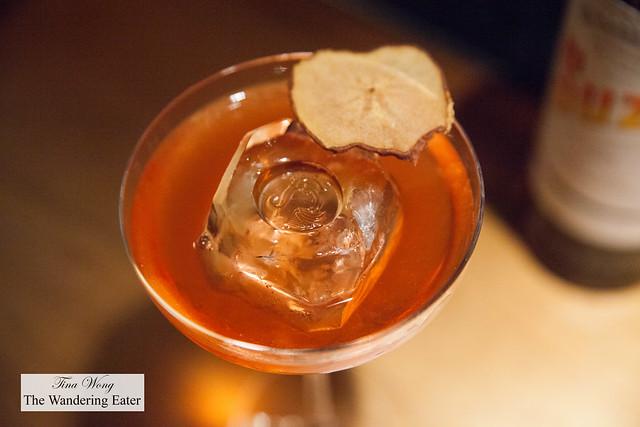 Cocktail # 7 - LRD Silent Grain, El Jolgorio Wild Espadin, cherry blossom, Dolin bitter, Verjus