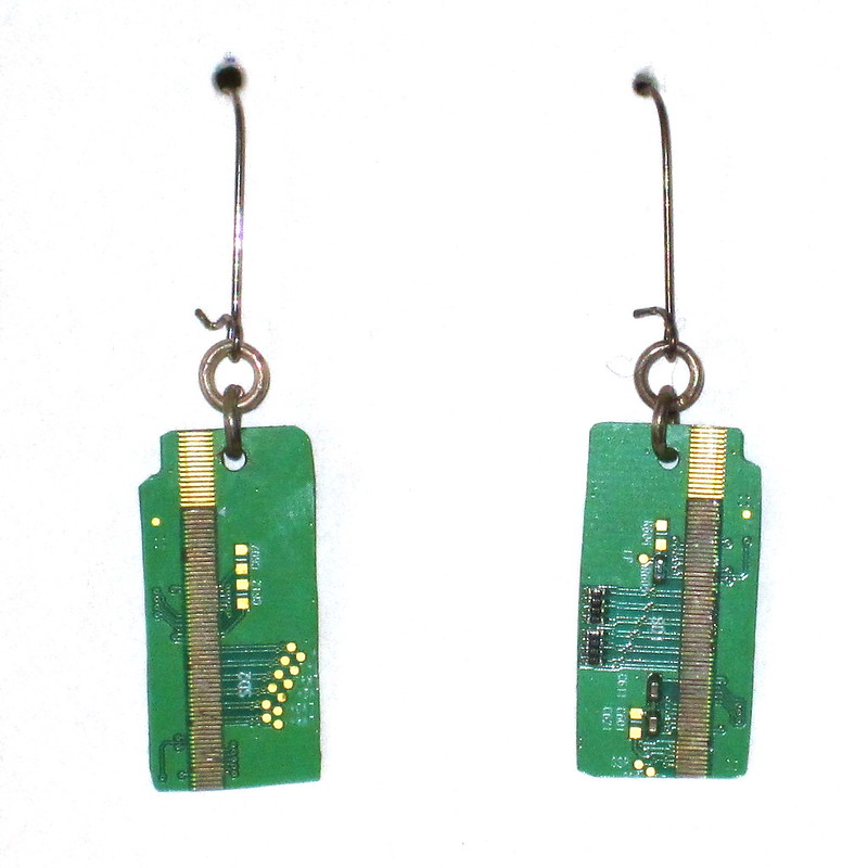Upcycled circuit baord earrings