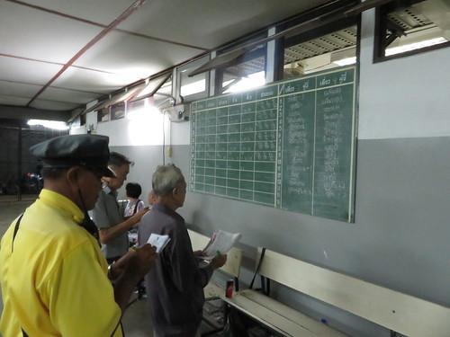 タイ競馬で騎手の名前をメモする人たち