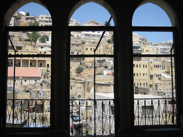 Salt townscape through the windows of Abu Jabel House