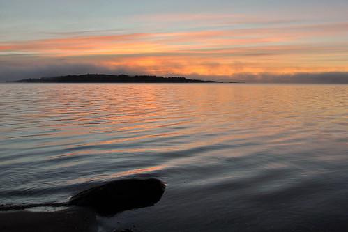 sea sunrise sweden onsala