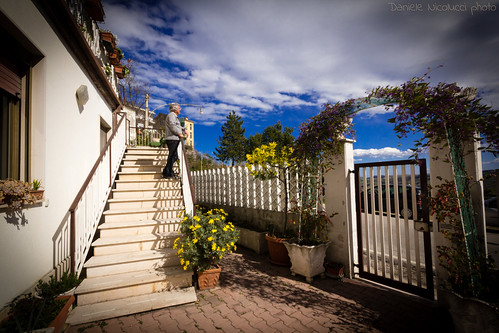 flowers shadow sky cloud house home window stairs person holding gate ship arch streetlamp horizon father wide highcontrast railway wideangle stairway climbing pots deck staircase captain vegetation daisy softfocus lamps staring ultrawide vignette flou vases abruzzo chieti