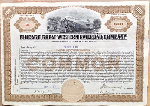 100 shares of the Chicago Great Western Railway | by H. Michael Miley