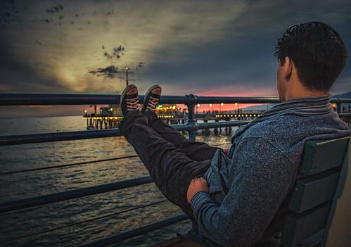 santa pink light sunset red sky people beach clouds dark pier los sitting view natural angeles dusk monica