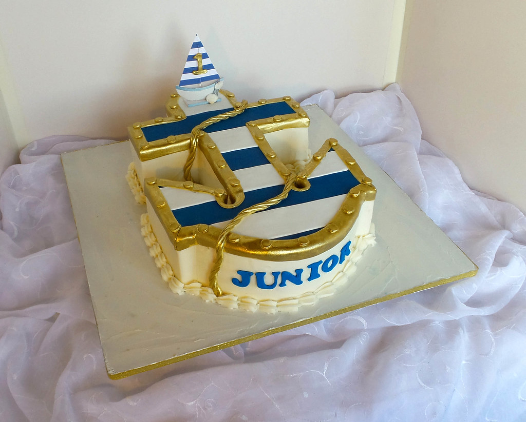 Pleasing Nautical Anchor Shaped Birthday Cake Willi Probst Bakery Flickr Funny Birthday Cards Online Alyptdamsfinfo