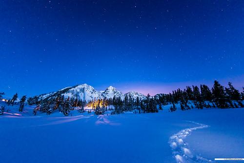 longexposure trees sky mountain snow night stars washington nationalpark unitedstates tracks explore snowshoeing mountbaker deming picturelake interestingness29 sigma15mmf28exdgdiagonalfisheye