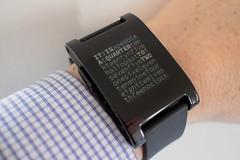 Pebble wordsquare watch