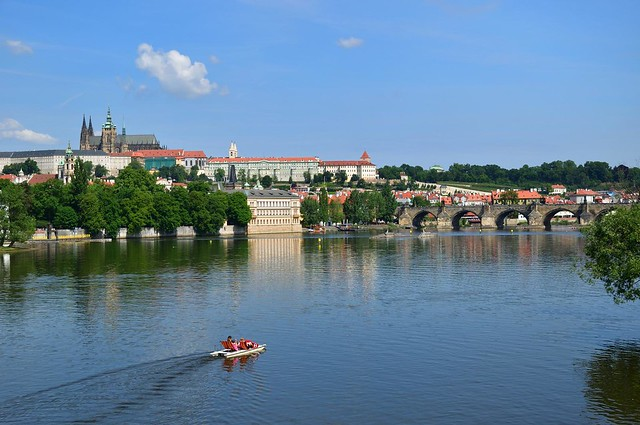 Prague : Pedal boat on the Vltava river
