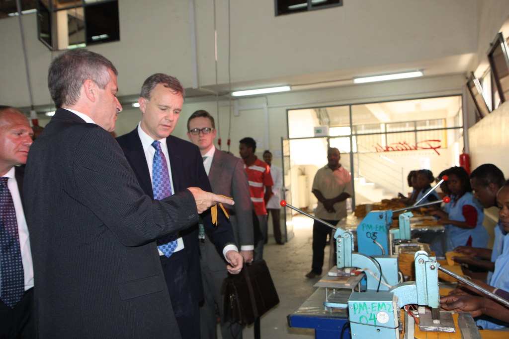 Minister Mark Simmonds visiting at Pittards Leather Factor