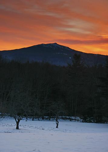 new winter sunrise view hampshire mount marlborough monadnock