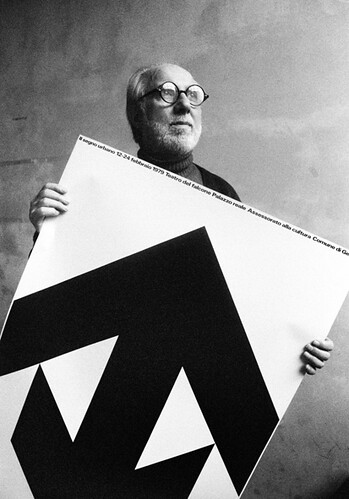 AG Fronzoni with his 1979 poster for 'The urban sign: investigation on the old town of Venice'. | by AG Fronzoni