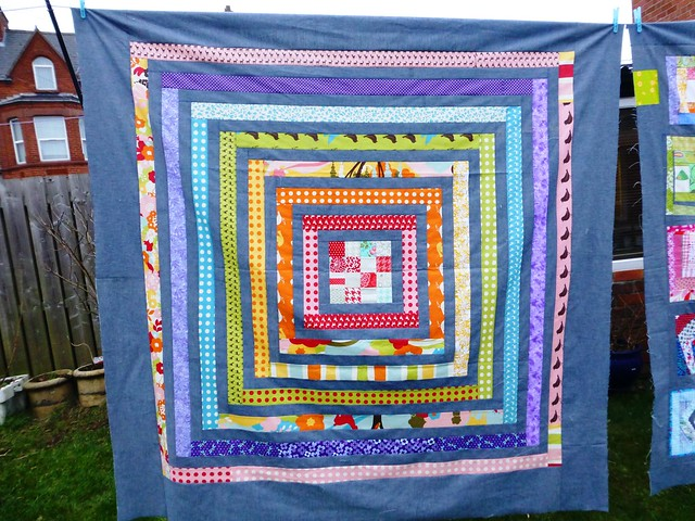Brit Bee Log Cabin Quilt (Back)