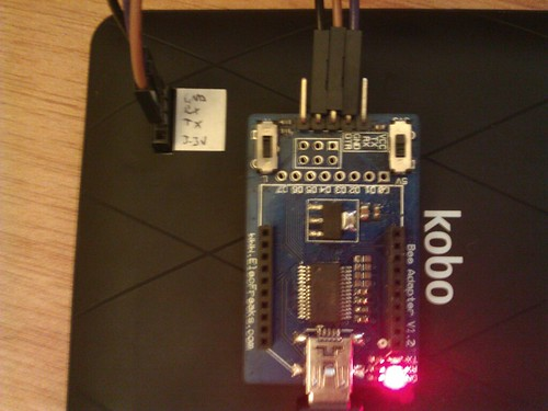 USB to serial adapter being used to connect to the linux console on my kobo mini.   by Euphy