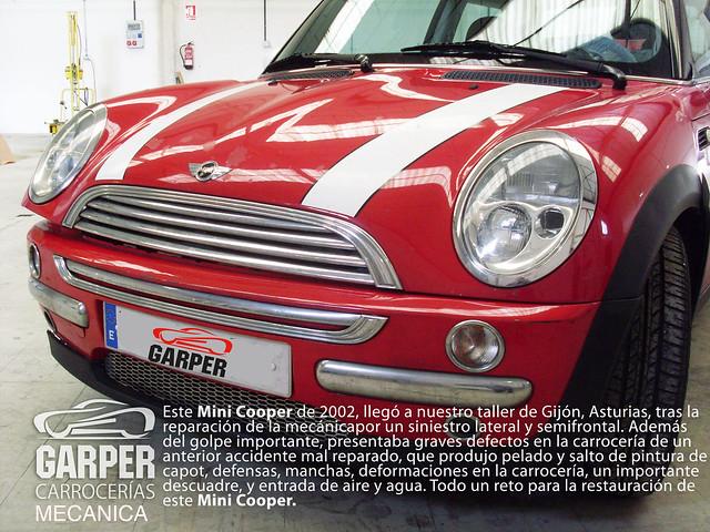 Golpe en defensa y capot, y salto de pintura en MINI Cooper BMW de Asturias