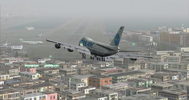 Pan Am 747 landing Kai Tak