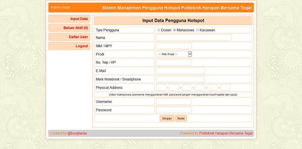 Sistem Manajemen Pengguna Hotspot